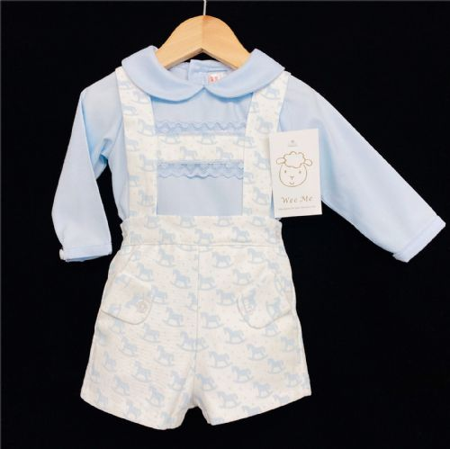 *AW20 Baby Boy Blue Rocking Horse Print Shorts Outfit Long Sleeve MYD211